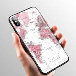 Pink World Map Case for Apple iPhone 11 Pro XS Max XR X 8 7 6 6S Plus 5 5S SE v7